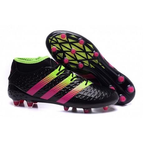 Adidas ACE 16.2 Primemesh Finitions de football en terre ferme Core Noir / Shock Rose / Solar Vert