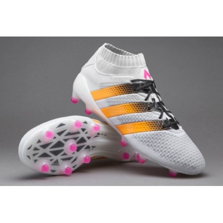 Adidas Womens ACE 16.1 Primeknit FG / AG Crampons de football Blanc / Solar Or / Shock Rose