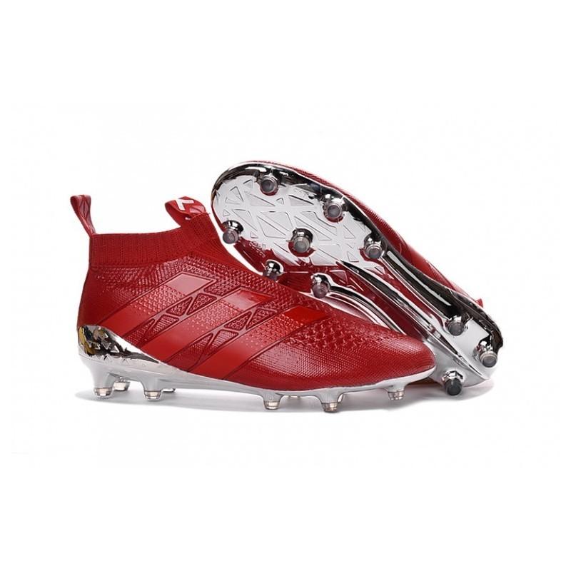 Adidas ACE 16+ Purecontrol FG Crampons de football Rouge Argent Metallic