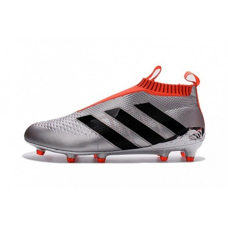 2016 Adidas Ace 16+ Pure Control EURO FG Crampons de football Argent Metallic / Solar Rouge / Core Noir