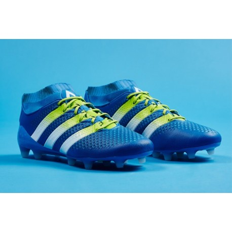Cheap adidas ACE 16.1 Primeknit FG / AG Crampons de football Shock Bleu / Semi Solar Slime / Blanc