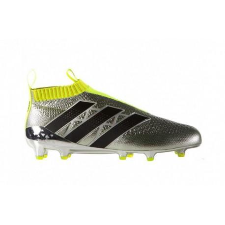 Adidas ACE 16 + Purecontrol FG Crampons de football Argent Metallic Core Noir Solar Jaune