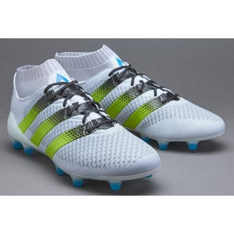 Cheap adidas ACE 16.1 Primeknit FG Crampons de football Blanc / Semi Solar Slime / Shock Bleu