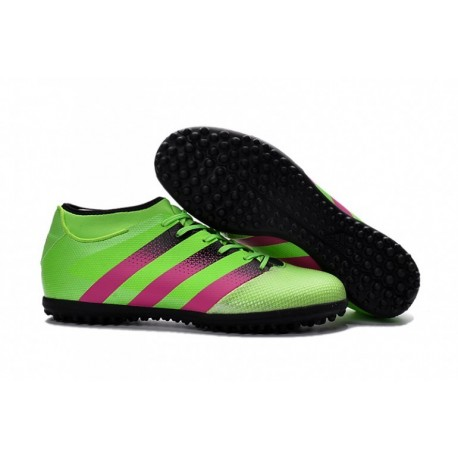 outlet store 46728 8c901 Adidas ACE 16.3 Primemesh TF Crampons de football Solar Vert  Shock Rose   Core Noir