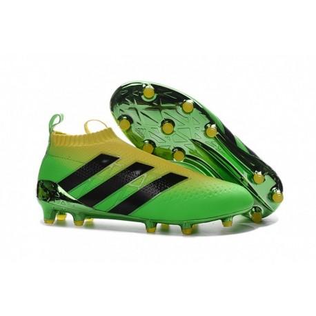 Adidas ACE 16 + Purecontrol FG Crampons de football Solar Vert / Jaune / Noir