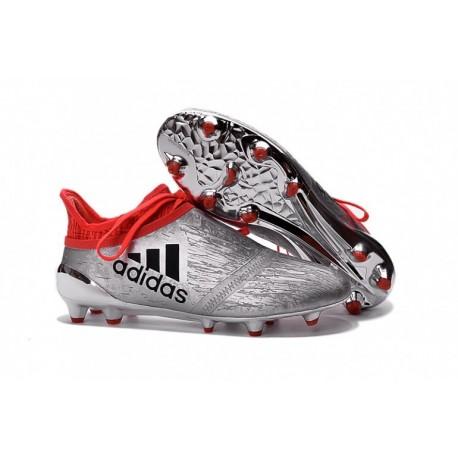 Cheap adidas X 16 + Purechaos FG / AG Crampons de football Argent Metallic / Core Noir / Solar Rouge