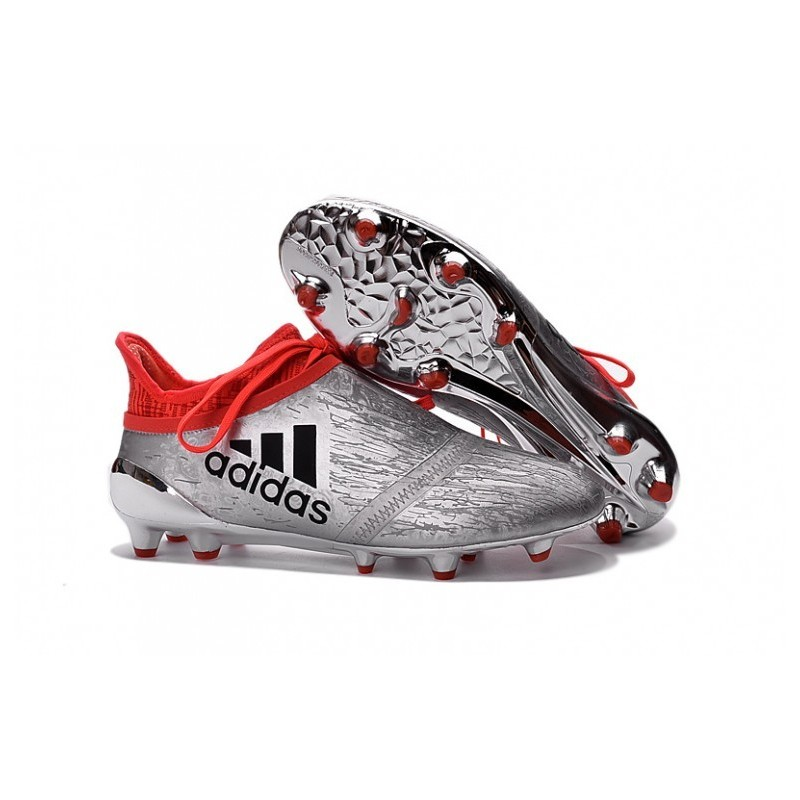 Cheap adidas X 16 + Purechaos FG AG Crampons de football Argent Metallic Core Noir Solar Rouge