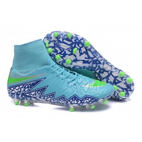 Nike Hypervenom Phantom II FG Bottes de football pour femme Energy Racer Bleu Voltage Vert