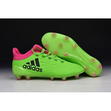 Nouveau 2016 adidas X 16.1 bottes Crampons de football Vert / Rose / Noir