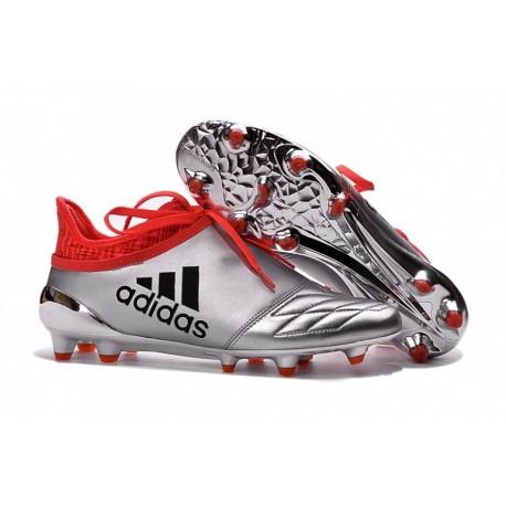 Adidas X 16+ Purechaos FG-AG Cuir - Argent Metallic-Core Noir-Rouge solaire