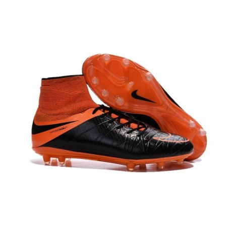 Nike Hypervenom Phantom II FG Bottes de football Noir Noir Total Orange Total Orange