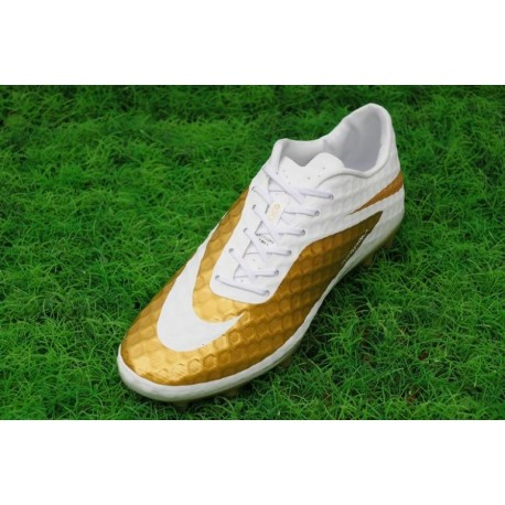 Bottes de football Nike Hypervenom Phantom FG Or blanc