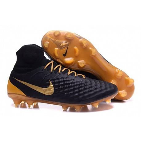 Nike Magista Obra II FG Soccer Cleats Noir Or