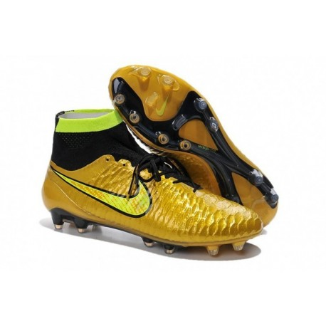 Bottes de football Nike Magista Obra FG Or Volt Noir