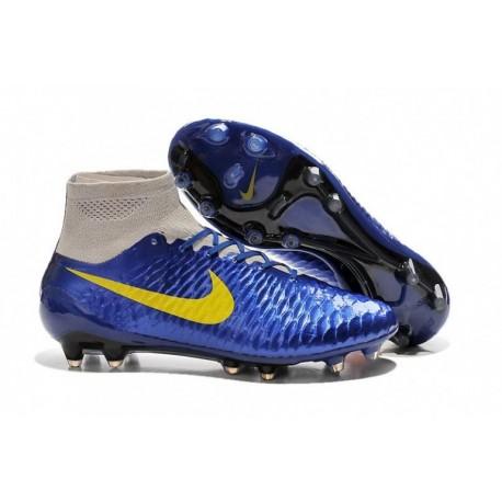 Bottes de football Nike Magista Obra FG DK Bleu Jaune