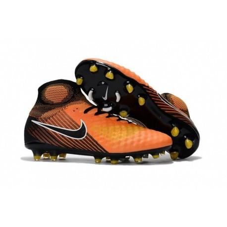 2017 Nike Magista Obra II FG Soccer Cleats - Noir / Orange / Jaune / Blanc