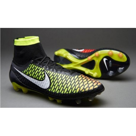 Nike Magista Obra FG Bottes de football Noir Volt Hyper Punch Blanc