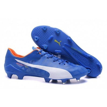 Puma evoSPEED SL FG Bottes de football Electric Bleu Limonade Blanc Orange Clown Poisson