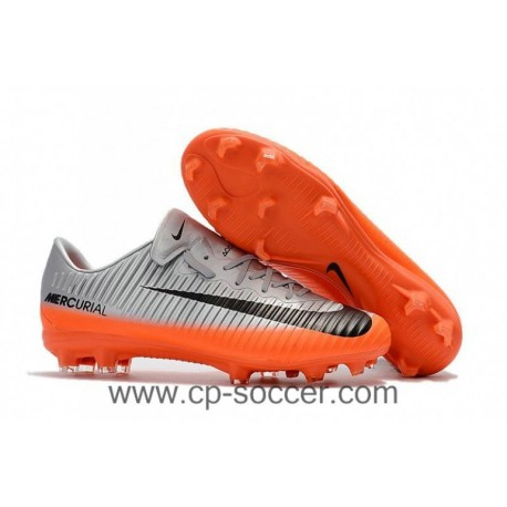 2017 Nike Mercurial Vapor XI CR7 FG Soccer Cleats - Cool Grey / Orange / Hematite métallique