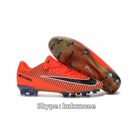 2017 Nike Mercurial Vapor XI FG Soccer Cleats Orange / Noir
