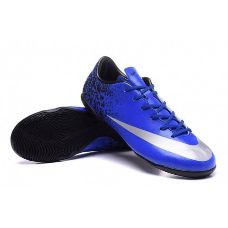 Nike Mercurial Victory V CR IC Crampons de football Deep Royal Bleu / Metallic argent / Racer Bleu