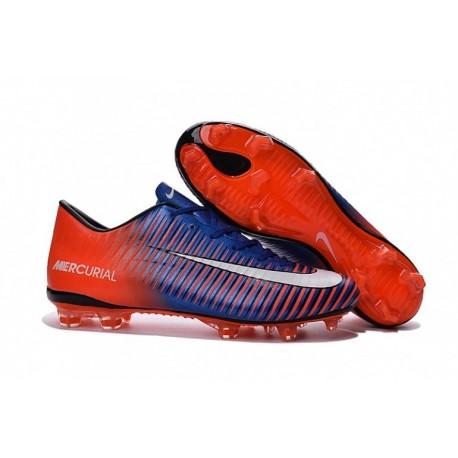 Nouveau 2016 Nike Mercurial Vapor XI FG Hommes Soccer Cleats Orange / Bleu / Blanc