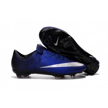 Nike Mercurial Vapor X CR FG Soccer Cleats Deep Bleu Bleu-Argent Metallic argent-Racer Bleu