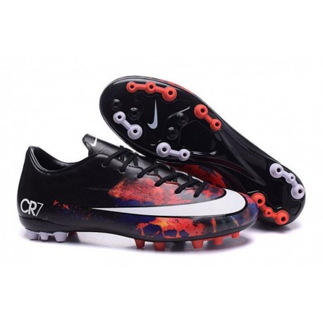 Nike Mercurial Vapor X CR AG R Bottes de football Noir Blanc Total Crimson