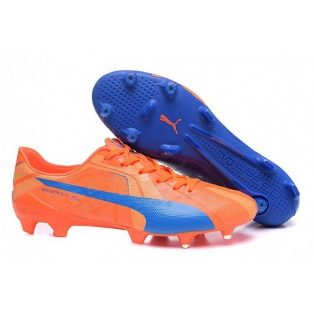 Puma evoSPEED SL FG Bottes de football Orange Clownfish / Electric Bleu Lemonade