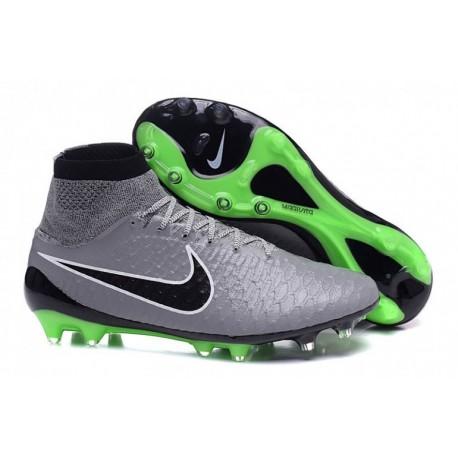 Nike Magista Obra FG Bottes de football Étain métallisé Noir Blanc Ghost vert