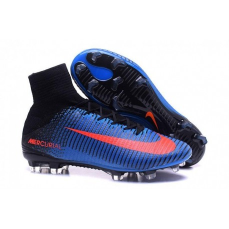 Nike Mercurial Superfly V FG EURO 2016 Bleu Noir Orange