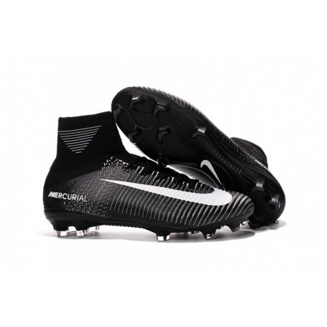 2016 Noir Blanc Nike Mercurial Superfly V FG Soccer Cleats