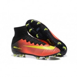 Nike Junior Mercurial Superfly V FG Chaussures de football en terre ferme Total Crimson-Noir-Volt