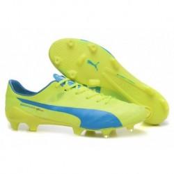 Puma evoSPEED SL FG Soccer Cleats Jaune Bleu Pas Cher