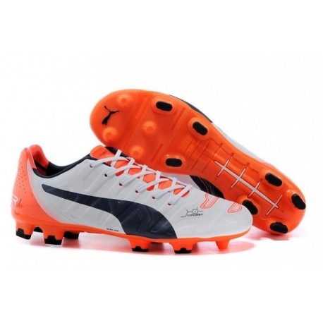 Bottes de football PUMA Evopower 1.2 FG Blanc Noir Orange