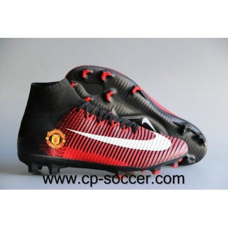 Nike Mercurial Superfly V Manchester United FG Soccer Cleats Rouge / Noir / Blanc