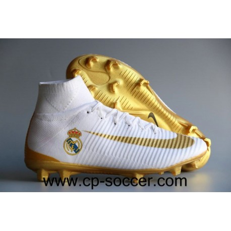Nike Mercurial Superfly V Real Madrid FG Soccer Cleats Blanc / Or
