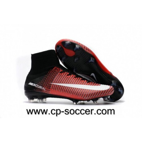 Nike Mercurial Superfly V FG Soccer Cleats Rouge / Noir / Blanc