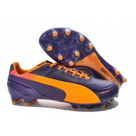 Puma evoSPEED 1.2 K FG Bottes de football Noirberry Orange Rose