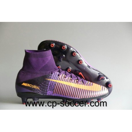 Nike Mercurial Superfly V AG / Pro Soccer Cleats Violet Dynasty / Bright Citrus / Hyper Grape