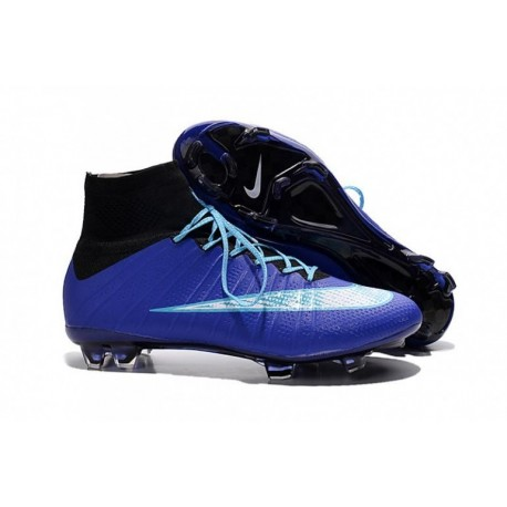 Bottes de football Nike Mercurial Superfly FG Bleu Blanc