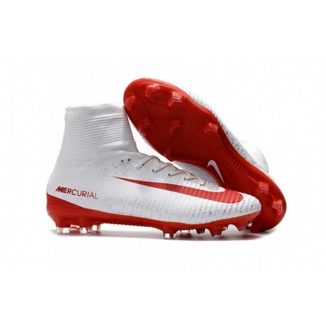 Nouveau 2015 Nike Mercurial Superfly V FG Soccer Cleats Blanc / Rouge