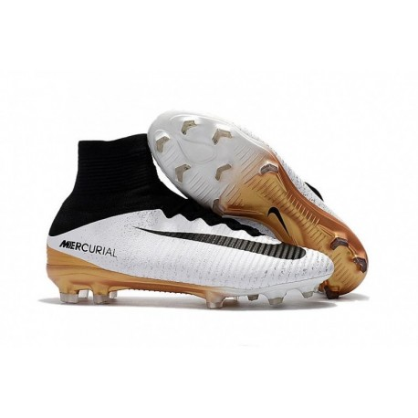 Nouveau 2017 Nike Mercurial Superfly V FG Soccer Cleats Blanc / Noir / Or métallique