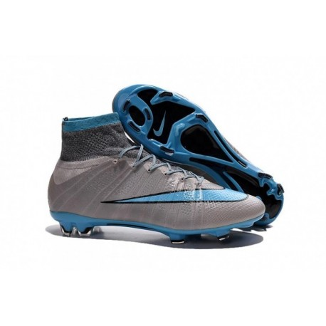 Bottes de football Nike Mercurial Superfly FG Gris Bleu
