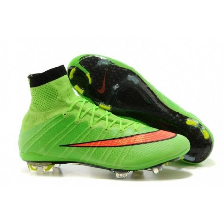 Bottes de football Nike Mercurial Superfly FG Vert Hyper Punch Noir