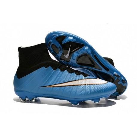 Bottes de football Nike Mercurial Superfly FG Bleu Blanc Noir