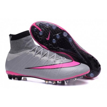 Bottes de football Nike Mercurial Superfly AG Wolf Grey Hyper Rose Noir