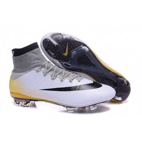 Nike Mercurial Superfly CR7 324K Or FG Soccer Cleats Blanc / Noir Métallisé / Vivid Or
