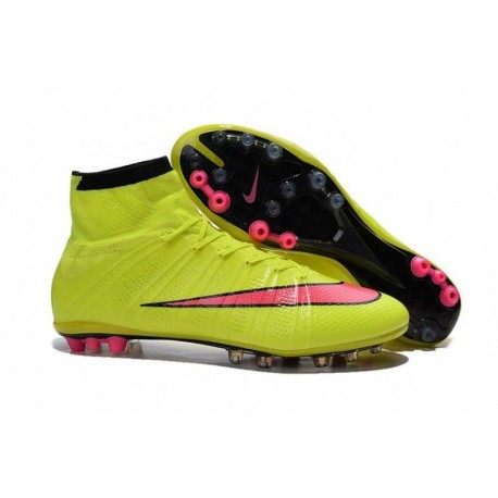 Nike Mercurial Superfly AG Bottes de football Volt Hyper Rose Noir