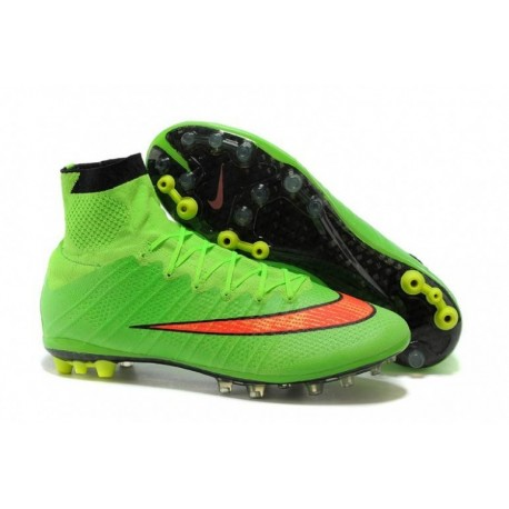 Bottes de football Nike Mercurial Superfly AG Vert Hyper Punch Noir